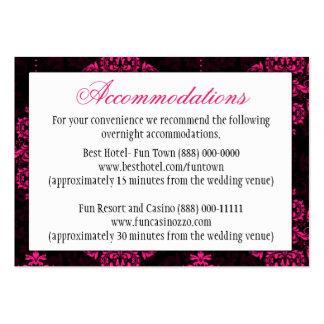 Hot Pink Black Damask Wedding Reception Cards Business Card