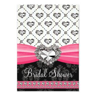 "Hot Pink Black Diamond Heart Bridal Shower Invitat 5"" X 7"" Invitation Card"