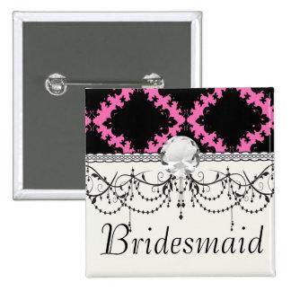 hot pink black diamond mod damask 2 inch square button