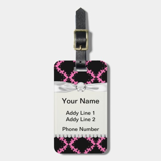 hot pink black diamond mod damask luggage tag