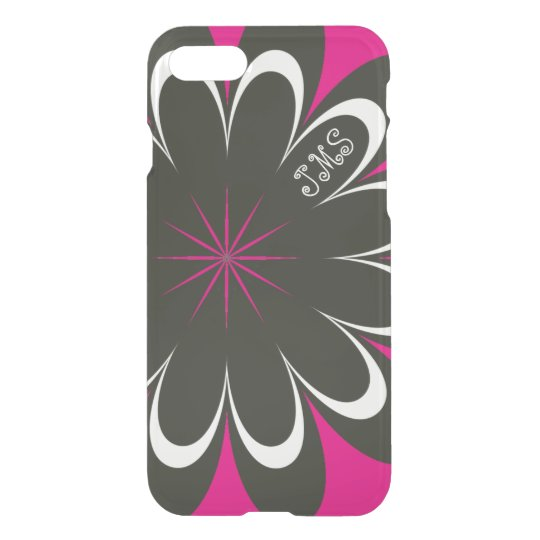 Hot Pink Black Floral Personalized iPhone 7 Case