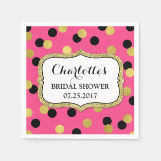 Hot Pink Black Gold Confetti Bridal Shower Paper Napkins