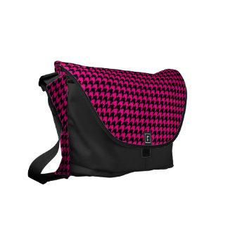 Hot Pink/Black Houndstooth Courier Bag
