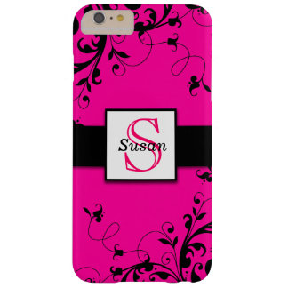 Hot Pink Black Initial Swirls Barely There iPhone 6 Plus Case