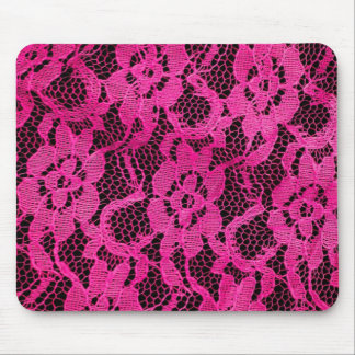 Hot Pink/Black Lace-Look Mouse Pad