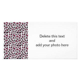 Hot Pink Black Leopard Animal Print Pattern Photo Card Template