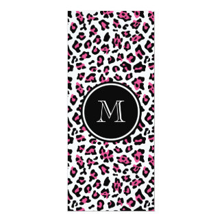Hot Pink Black Leopard Animal Print with Monogram Card