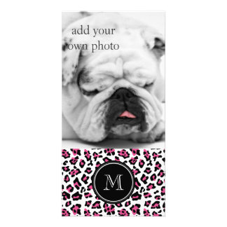 Hot Pink Black Leopard Animal Print with Monogram Custom Photo Card