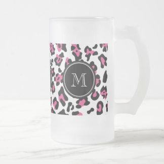 Hot Pink Black Leopard Animal Print with Monogram Frosted Glass Beer Mug