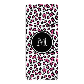 "Hot Pink Black Leopard Animal Print with Monogram 4"" X 9.25"" Invitation Card"