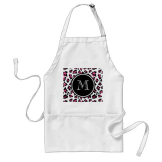 Hot Pink Black Leopard Animal Print with Monogram Standard Apron