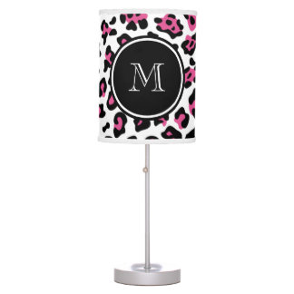 Hot Pink Black Leopard Animal Print with Monogram Table Lamp