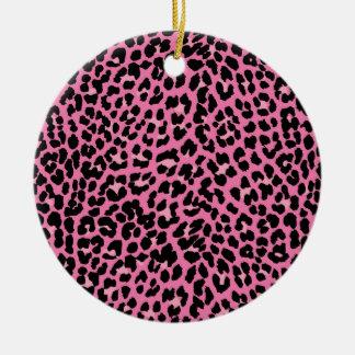 Hot Pink & Black Leopard Print Round Ceramic Ornament