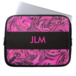 Hot Pink & Black Liquid Swirl Laptop Sleeve