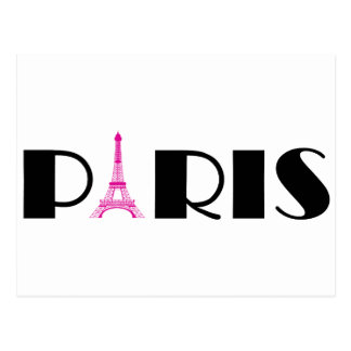 Hot Pink Black Paris Postcard
