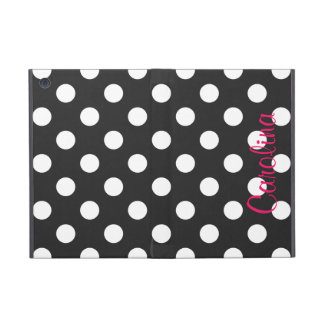 Hot Pink Black Polka Dot Personalized Name Girly Cover For iPad Mini
