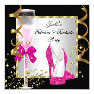 "Hot Pink Black Silver Women's Birthday Party 5.25"" Square Invitation Card"