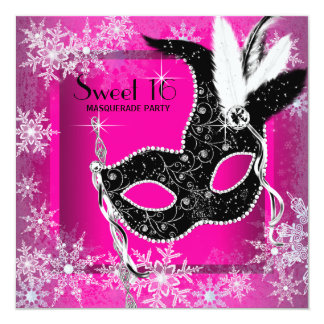 "Hot Pink Black Snowflake Sweet 16 Masquerade Party 5.25"" Square Invitation Card"