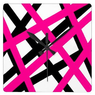 Hot Pink Black Stripe Geometric Square Wall Clock