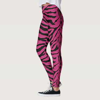 Hot Pink Black Stripe Zebra Animal Print Leggings