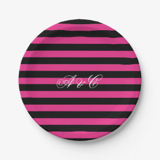 Hot Pink & Black Stripes Party Paper Plates