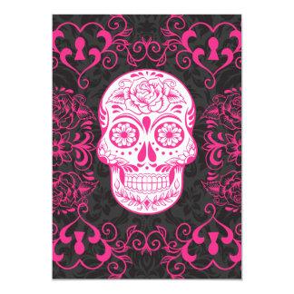 "Hot Pink Black Sugar Skull Roses Gothic Grunge 5"" X 7"" Invitation Card"