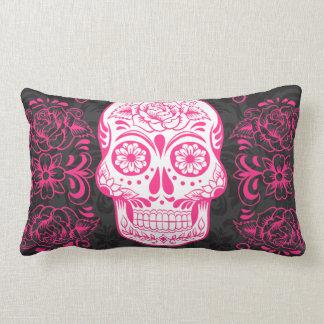 Hot Pink Black Sugar Skull Roses Gothic Grunge Lumbar Pillow