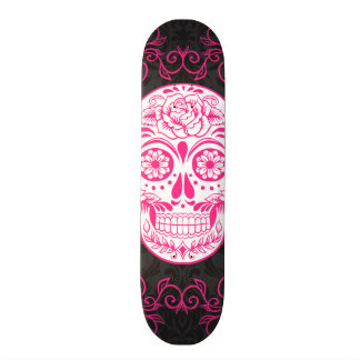 Hot Pink Black Sugar Skull Roses Gothic Grunge Skate Boards