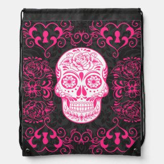 Hot Pink Black Sugar Skull Tattoo Art Cinch Bag