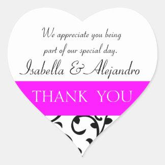 Hot Pink, Black Wedding Favor Thank You Message Sticker