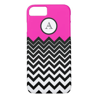 Hot Pink Black White Chevron Zigzag Monogram iPhone 7 Case