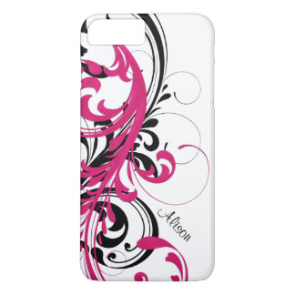 Hot Pink Black White Funky Wavy Scroll Floral iPhone 7 Plus Case