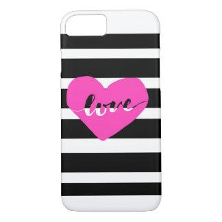 Hot Pink Black & White Love iPhone 7 case