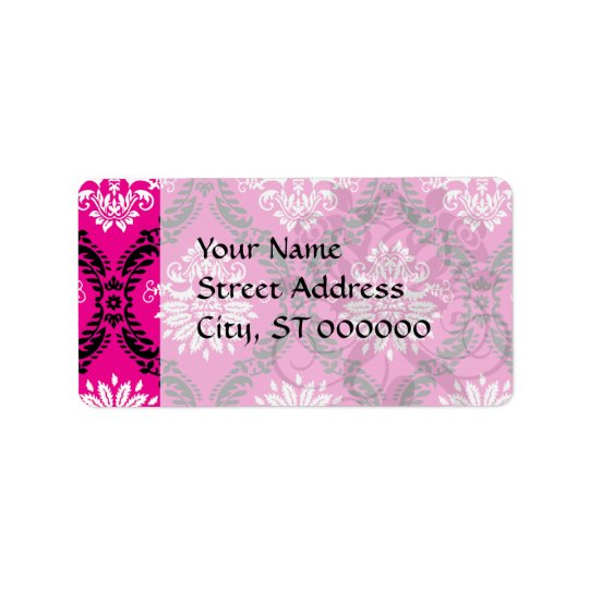 hot pink black white ornate damask