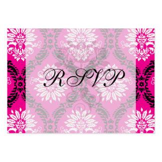 hot pink black white ornate damask large business card