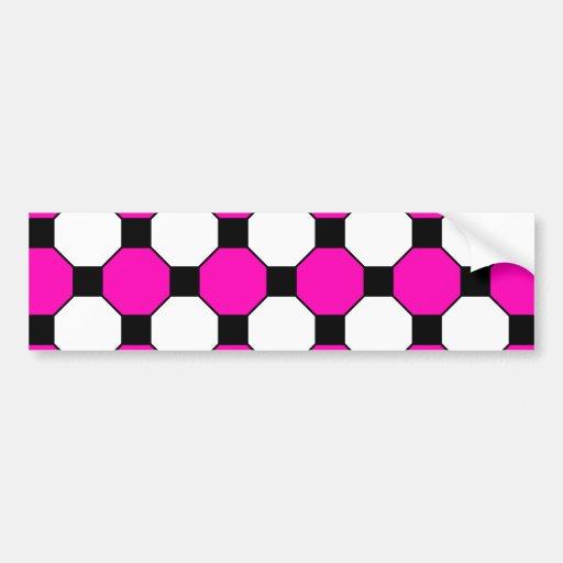 Hot Pink Black White Squares Hexagons Pattern Bumper Sticker