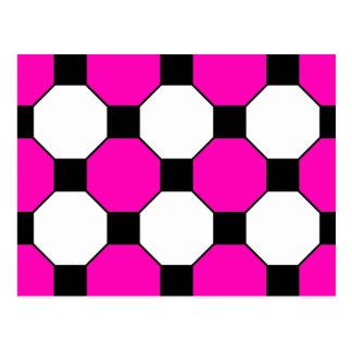 Hot Pink Black White Squares Hexagons Pattern Postcard