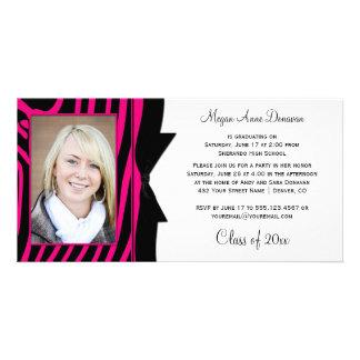 Hot Pink Black Zebra Print Photo Graduation Party Photo Cards