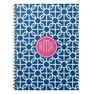 Hot Pink & Blue Geometric Pattern Monogram Notebook
