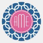 Hot Pink & Blue Geometric Pattern Monograms Classic Round Sticker