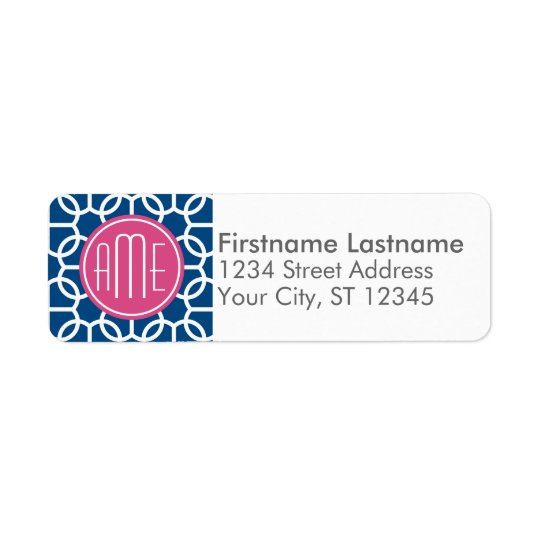 Hot Pink & Blue Geometric Pattern Monograms Return Address Label