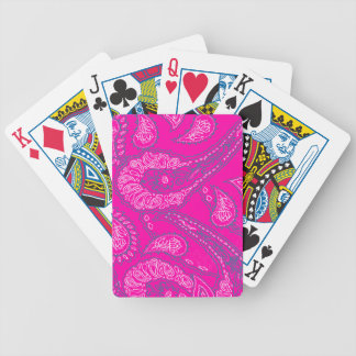 Hot Pink Blue Paisley Print Summer Fun Girly Bicycle Poker Deck