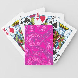 Hot Pink Blue Paisley Print Summer Fun Girly Poker Deck