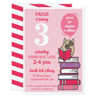 Hot Pink Book Birthday Party Reading Invitation