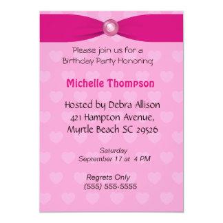 Hot Pink Bow Birthday Invitation