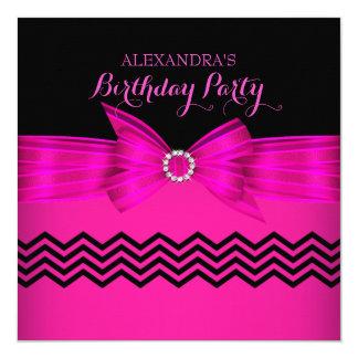 Hot Pink Bow Black Chevron Stripe Birthday Party Card