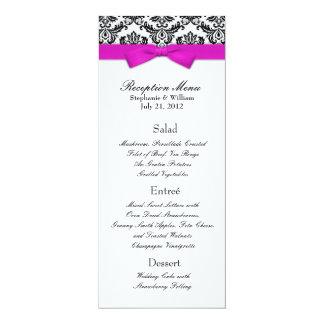"Hot Pink Bow with Damask Wedding Reception Menu 4"" X 9.25"" Invitation Card"