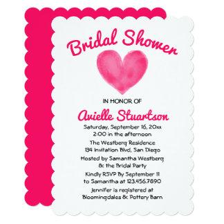 Hot  Pink Bridal Shower Watercolor Heart Wedding Card