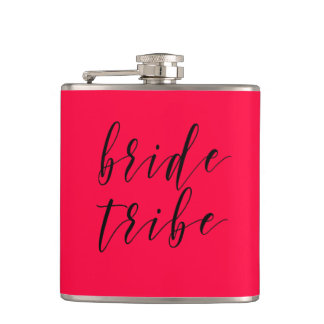 Hot Pink Bride Tribe Wedding Vinyl Flask
