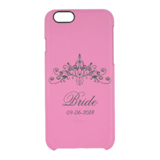 Hot pink, bride with a crown, clear iPhone 6/6S case